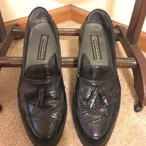 Stacy Adam 9.5 black Genuine Snake Dress Shoes